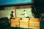 Paul and me bilding the compost boxes